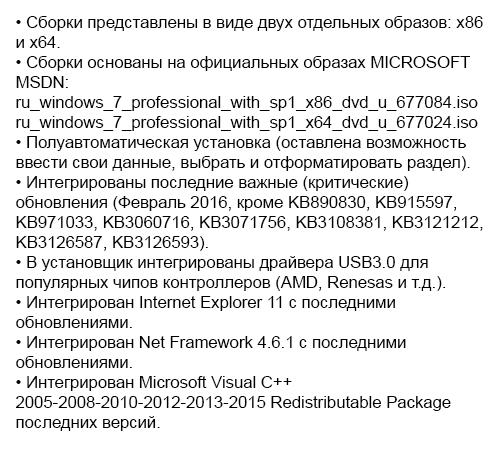 Windows 7 Professional SP1 IDimm Edition х86/x64 v.22.16